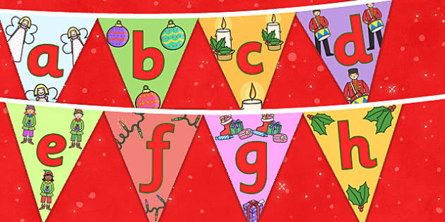 Christmas Alphabet Bunting Lowercase - christmas, xmas, alphabet bunting, lowercase bunting, lettering, lettering on bunting, lowercase bunting, christmas themed bunting, angels, candles, baubles, decorating, decorations, christmas decorations, class