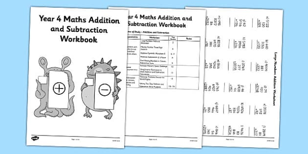Year 4 Maths Addition and Subtraction Workbook - workbook, activity pack, worksheets, independent