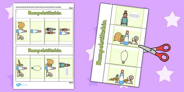 Rumpelstiltskin Story Writing Flap Book - rumpelstiltskin, story