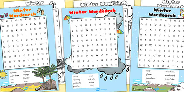 Winter Wordsearch Temperate - word search, word games, winter