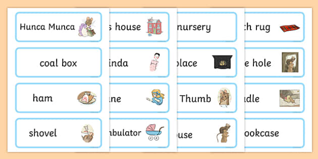 The Tale of Two Bad Mice Word Cards - two bad mice, word cards, word, cards