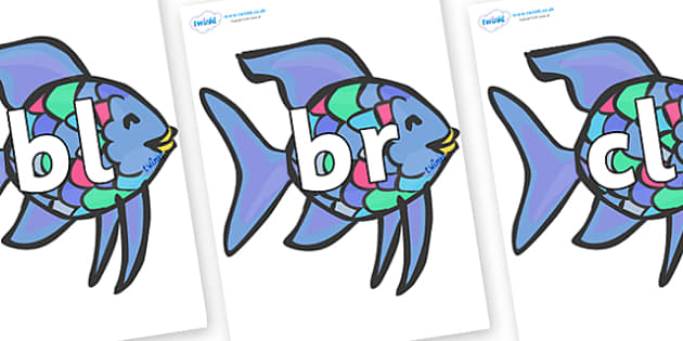 Initial Letter Blends on Rainbow Fish to Support Teaching on The Rainbow Fish - Initial Letters, initial letter, letter blend, letter blends, consonant, consonants, digraph, trigraph, literacy, alphabet, letters, foundation stage literacy