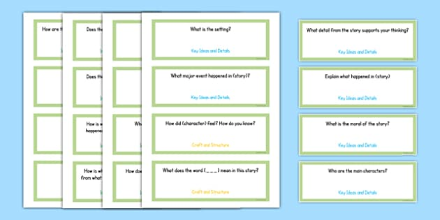 Common Core First Grade Reading Literature Question Stem Cards USA - American, comprehension, prompts, story, non-fiction, English