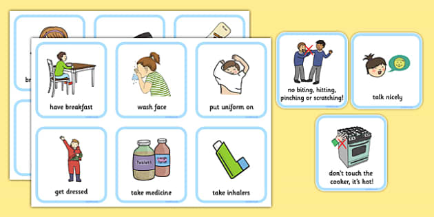 SEN Communication Cards Daily Routine (Boy) - communication cards, education, home school, child development
