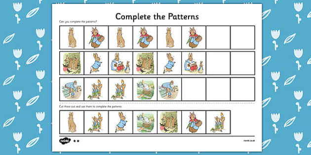 The Tale of Peter Rabbit Complete the Pattern Worksheets - peter rabbit