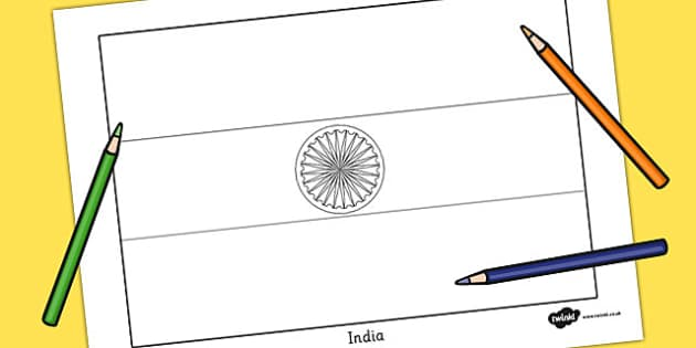 India Flag Colouring Sheet - geography, countries, colour