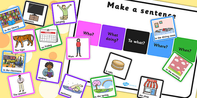 Make a Sentence Who What Doing To What Where When - sentence