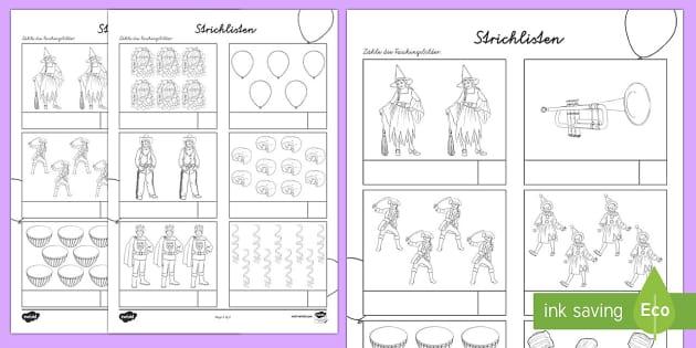 Fasching Strichlisten 1 bis 10 Arbeitsblatt: Erstes Zählen - Carnival, Fasching, Arbeitsblatt, Vergleichen, Mathematik, 1./2. Klasse, Messung,German