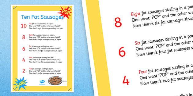 Ten Fat Sausages Nursery Rhyme Poster - ten fat sausages, nursery rhyme, poster, display
