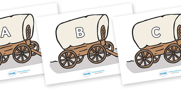 A-Z Alphabet on Wagons - A-Z, A4, display, Alphabet frieze, Display letters, Letter posters, A-Z letters, Alphabet flashcards