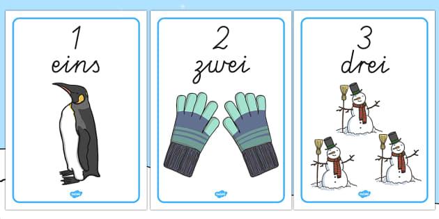Zahlen und Zahlwörter 1 bis 10: Thema Winter Poster DIN A4
