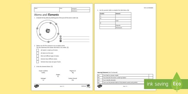 Atoms and Elements Homework Activity Sheet - Homework, atom, atoms, element, elements, structure of atom, Dalton, worksheet, particle, particles