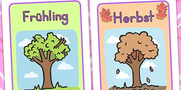 German Season Posters A4 - german, germany, seasons, weather