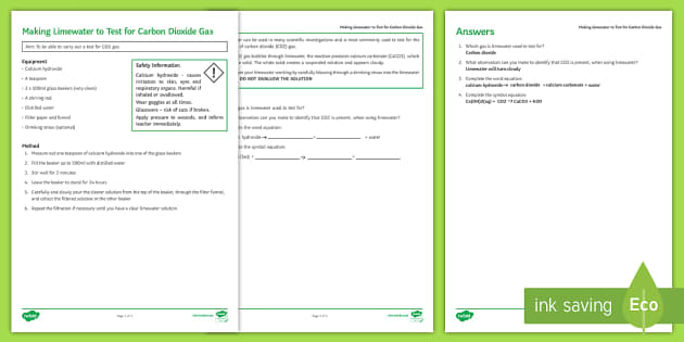 Making Limewater Investigation Help Sheet Print-Out - Investigation Help Sheet, science practical, method, instructions, limewater, test for CO2, test for