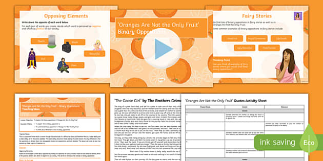 Oranges Are Not the Only Fruit Lesson Pack: Binary Opposition