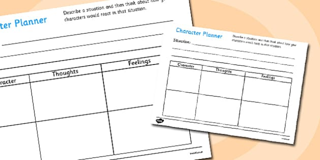 Story Character Planner - story character planner, story, planner, plan, character, thgoughts, feelings, situation, writing a story