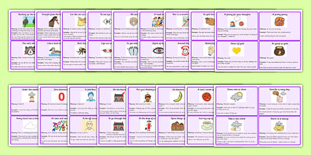 Idioms Meaning Cards Pack - idioms, meaning, cards, pack, sen, meaning cards