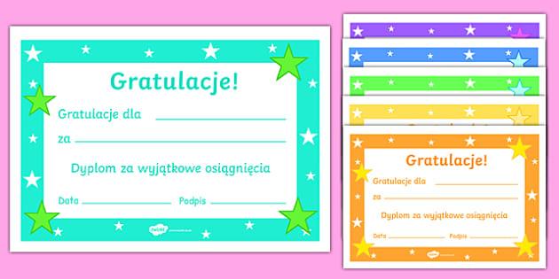 Certyfikat Gratulacje! do edytowania po polsku - wyróżnienia