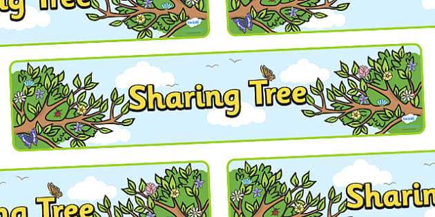 Sharing Tree Display Banner - sharing tree, sharing, share, how to share, display, banner, sign, poster, good behaviour, friendship, relationship, friendly, kind, behaviour, smile, polite, helpful, gentle, kind, happy