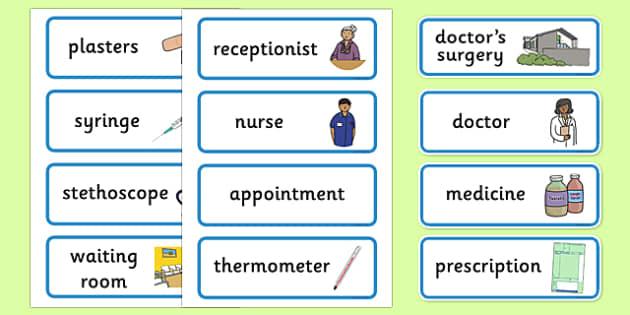 Doctor's Surgery Display Labels - Doctors surgery role play, doctor, nurse, surgery, role play, doctors role play, people who help us role play, people who help us, Display signs, display, labels