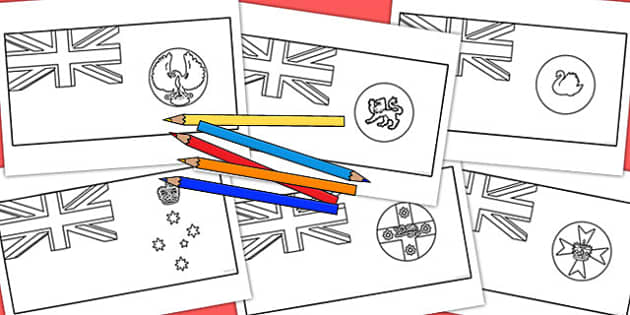 Australian States Colouring In Flag Pack - australia, colouring