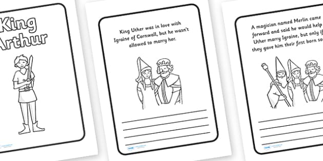King Arthur Story Sequencing (Text Box) - King Arthur, Knight, knights, merlin, story, sword, stone, round table, tale, traditional tale, legend, myth