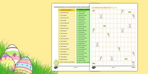 KS3 Français : La chasse aux oeufs de Pâques - Easter, Pâques, directions