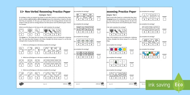 11+ Non Verbal Reasoning Analogies Assessment Pack