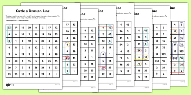 Year 4 Colour the Division Equation Game Sheets - dividing, maths
