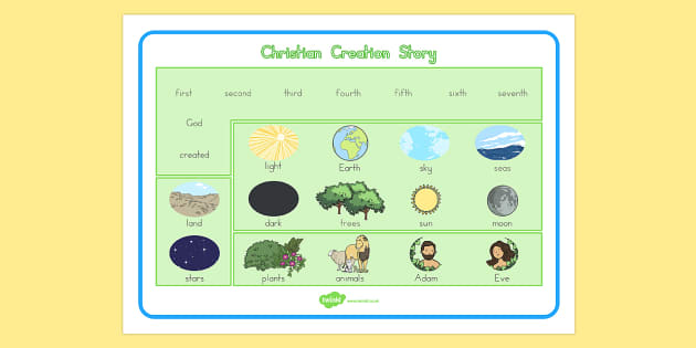 Christian Creation Story Word Mat - usa, america, christian, creation story, word mat, creation