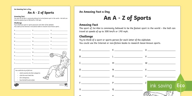 An A-Z of Sports Activity Sheet