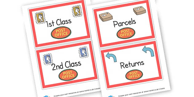 Post office post box labels - display lettering - Post Office Primary Resources, post office, role play, letterbox