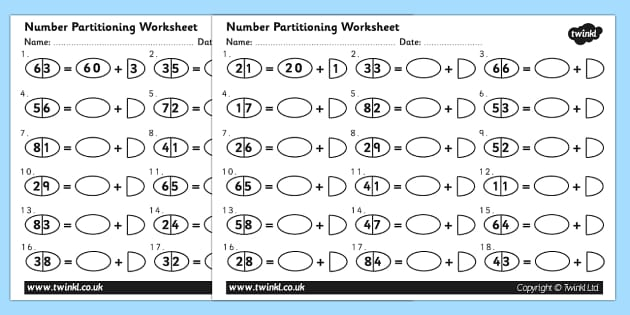 Tens and Ones Number Partitioning Worksheet number – Maths Partitioning Worksheets