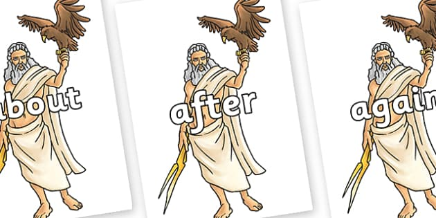 KS1 Keywords on Zeus - KS1, CLL, Communication language and literacy, Display, Key words, high frequency words, foundation stage literacy, DfES Letters and Sounds, Letters and Sounds, spelling