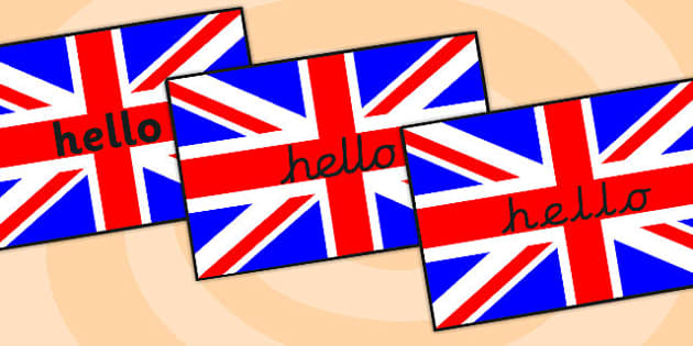 Hello On British Flag A4 - hello, british, flag, a4, display