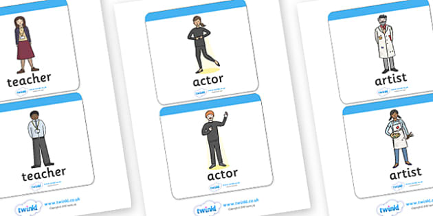 Common Jobs Word Flashcards - common jobs, jobs, work, cards, wordcards, flash cards, working, common