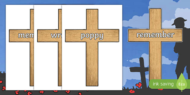 Remembrance Day Crosses Topic Words on Topic Images
