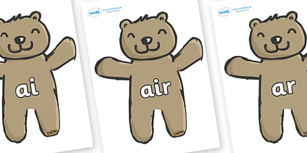 Phase 3 Phonemes on Teddy Bears - Phonemes, phoneme, Phase 3, Phase three, Foundation, Literacy, Letters and Sounds, DfES, display