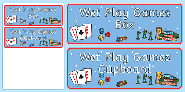 Wet Play Games Box Cupboard Label - wet play, games, label, cupboard