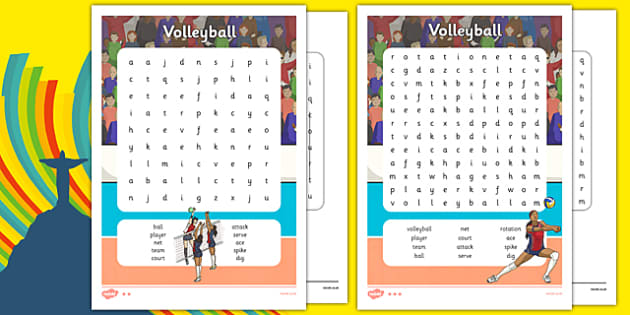 The Olympics Volleyball Differentiated Word Search - the olympics, 2016 olympics, rio olympics, rio 2016, volleyball, word search