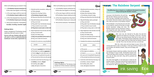 The Rainbow Serpent Differentiated Reading Comprehension Activity- Australian Aboriginal Dreamtime Stories - Australian Aboriginal Dreamtime Stories, Australia