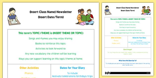 Childminder Editable Newsletter - Childminding newsletter, update