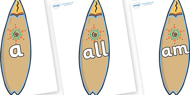 Foundation Stage 2 Keywords on Surf Boards - FS2, CLL, keywords, Communication language and literacy,  Display, Key words, high frequency words, foundation stage literacy, DfES Letters and Sounds, Letters and Sounds, spelling