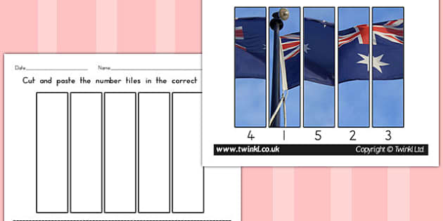Australia Day Photo Number Sequencing Puzzles - australia, number