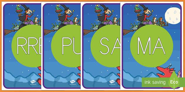 ¡Cómo mola tu escoba! tarjetas de sílabas