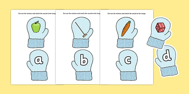 Match the Alphabet on Mittens - match the alphabet, match, alphabet, mittens