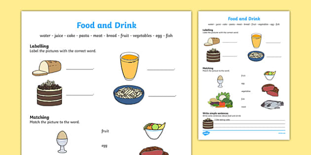 Food and Drink Activity Sheet, worksheet