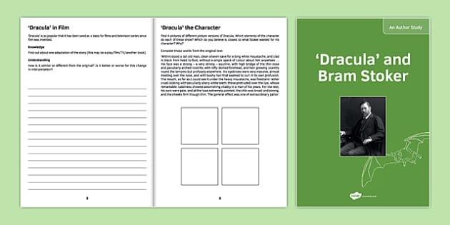 Author Study: Bram Stoker and Dracula - KS3, KS4, Dracula, Bram Stoker, Author Study, Biography, reading
