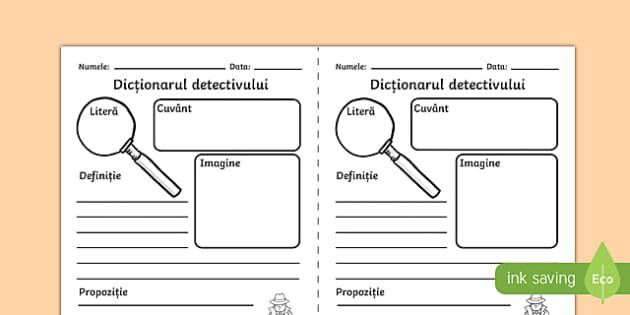 Dicționarul detectivului, Fișă