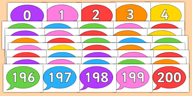 Numbers 0-200 on Colourful Speech Bubbles - numbers, 0-200, colourful, speech bubbles